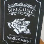 モノクロのウェルカムボード☆薔薇バージョン♪デザインしました。
